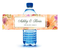 floral summer wedding water bottle labels | adhesive stickers