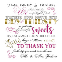 (sku050) Word play wedding welcome bag labels | Gable box stickers | pick your colors
