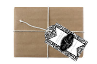 monogram black damask hang tag 4 gift bag favor bottle