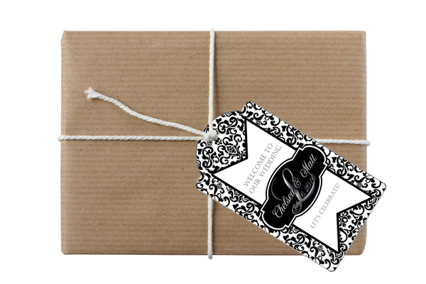 (sku150) black damask monogram gift tag | custom hang tag | goody bag tag - Best Welcome Bags