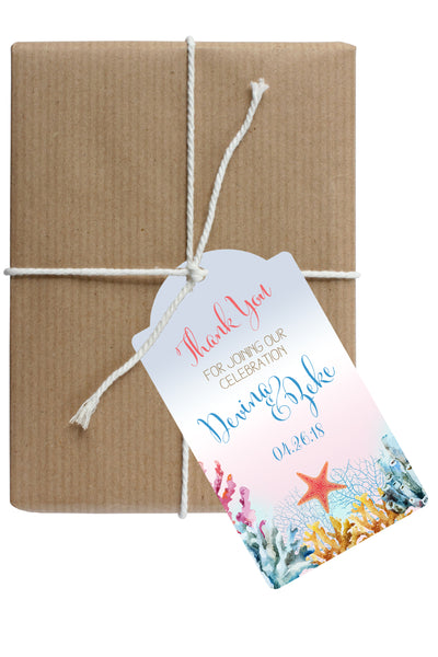 ocean coral beach hang tag for Welcome Bag, wedding favor