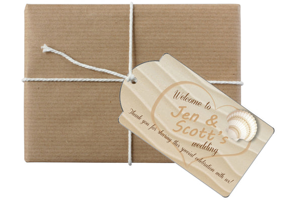 names in sand beach hang tag 4 gift bottle wedding welcome bag