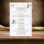 wedding stationary cartoon couple in you skin and hair colors