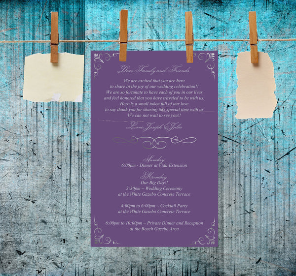 Wedding itinerary ceremony program reception menu in any color
