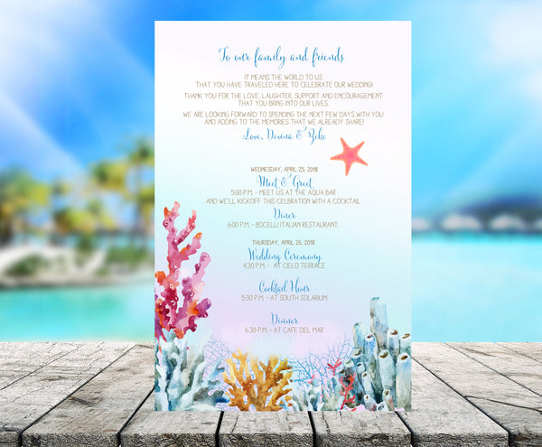 Custom printed ocean coral wedding stationary