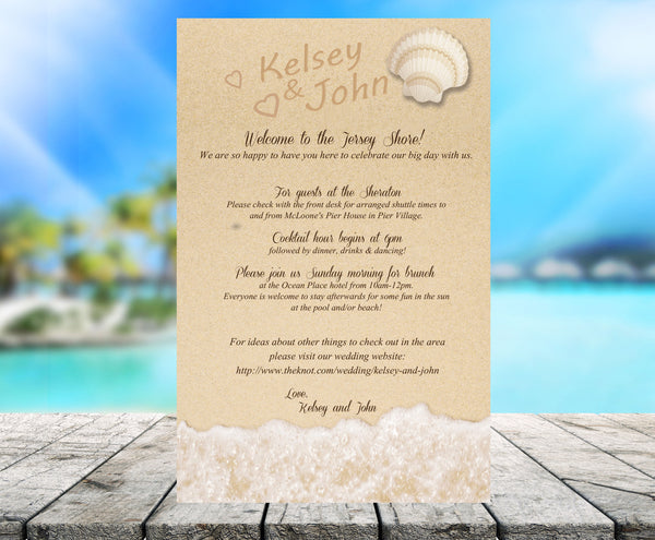 Written in the sand beach wedding stationary | itinerary | note