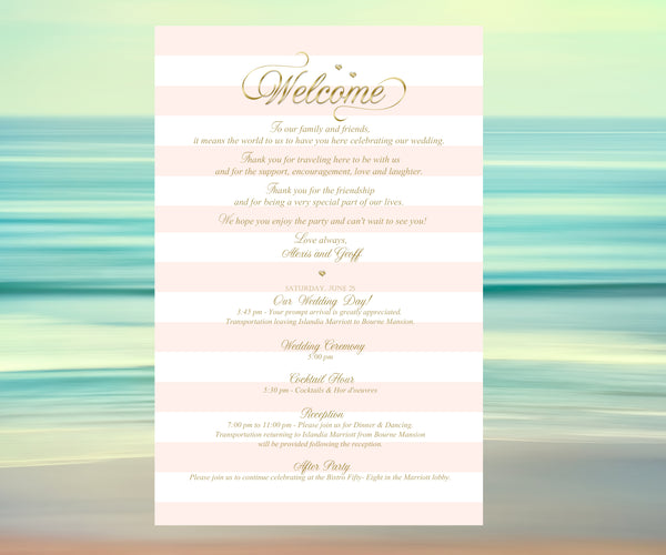 (sku140) Pink stripe wedding invitation | itinerary | welcome note | printed stationery - Best Welcome Bags