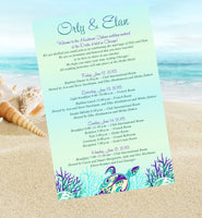 (sku439) Sea turtle stationery | destination wedding itinerary | beach party invitation - Best Welcome Bags