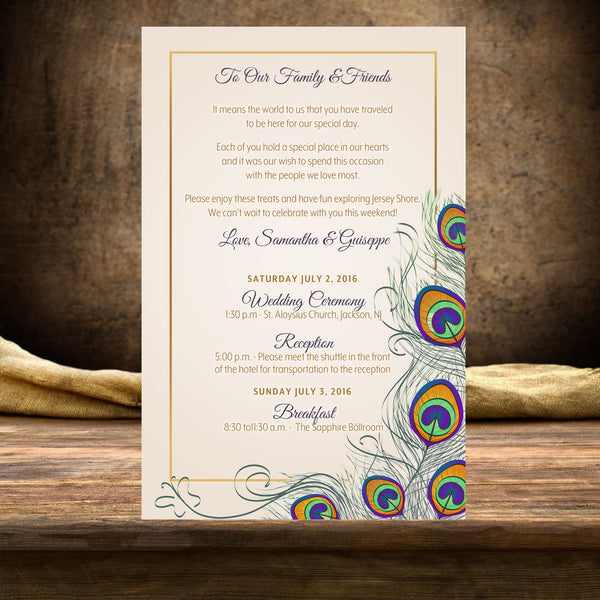 (sku289) Peacock printed stationery | wedding itinerary | ceremony program | invitation - Best Welcome Bags