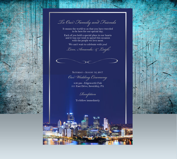 (sku564) Pittsburgh stationery | wedding itinerary | ceremony program | party invitation - Best Welcome Bags