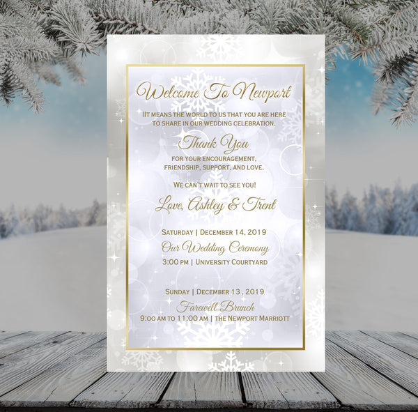 (sku371) Winter snowflake stationery | wedding itinerary | winter program | welcome note - Best Welcome Bags