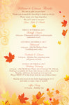 Autumn fall leaf stationary | wedding itinerary | welcome note