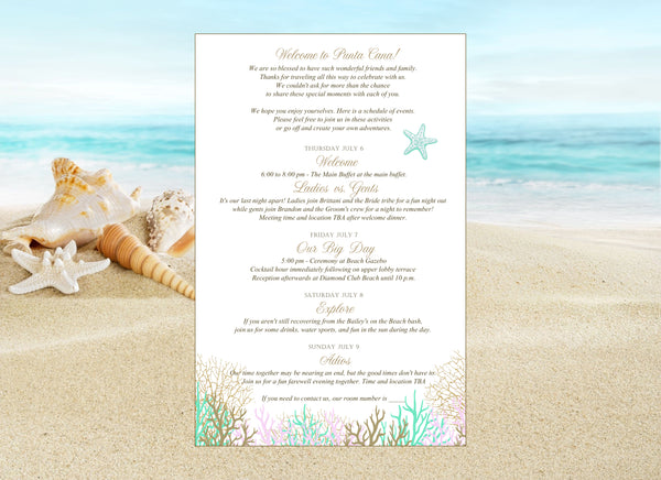 gold, pink coral beach destination wedding stationary