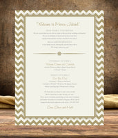 (sku194) Any color chevron custom printed stationery | wedding itinerary | welcome note - Best Welcome Bags
