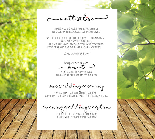 (sku293a) trailing text stationery | wedding itinerary | welcome note | invitation