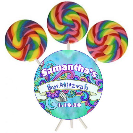 (sku696) tie dye party labels | round hippy lollipop sticker | candle label | mason or tin lid - Best Welcome Bags