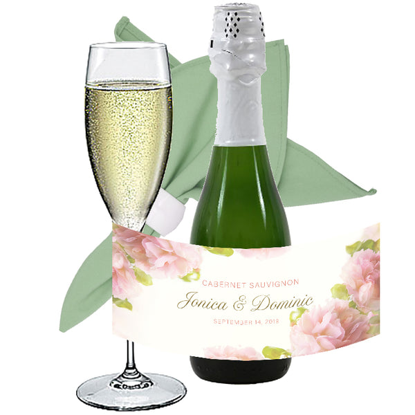 (sku254) mini wine bottle labels | Blush roses | mini champagne label | bottle stickers - Best Welcome Bags