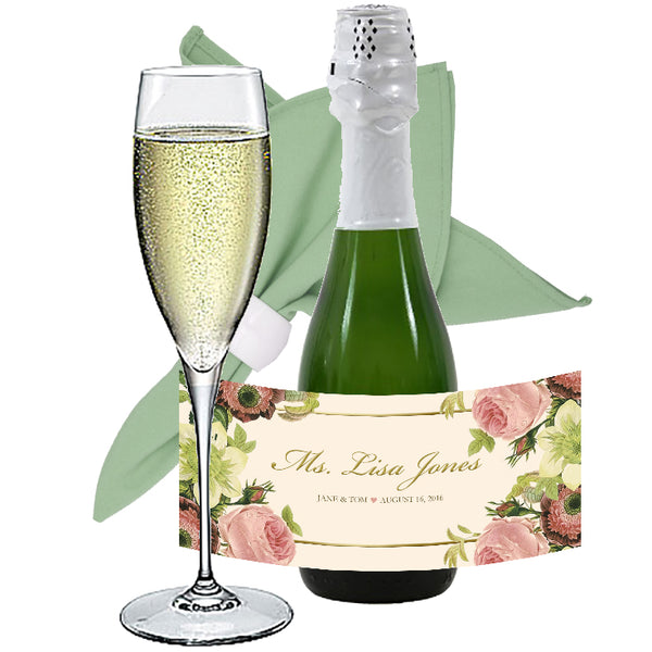 (sku120a) unique text per label  | blush rose mini wine or champagne labels