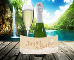 writing in sand mini champagne bottle labels