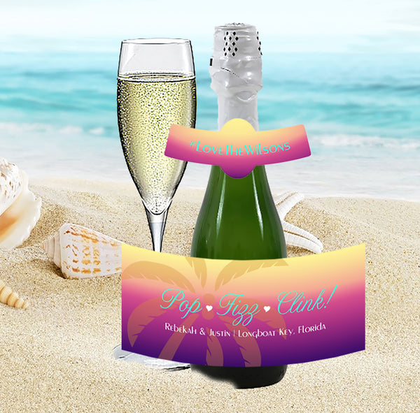 (sku455a) mini champagne label | mini wine bottle stickers | Sunset palm | party favor