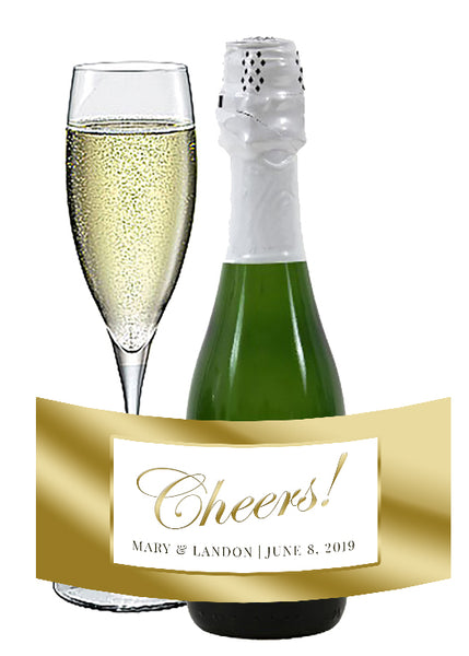 (sku134) gold border mini wine bottle label | mini champagne sticker | bottle favor label - Best Welcome Bags