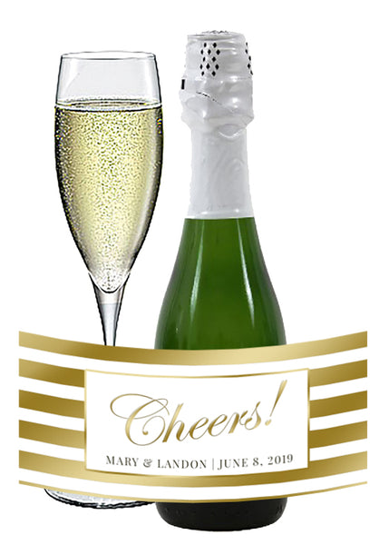 (sku177) gold stripe mini wine bottle label | champagne label | custom bottle sticker - Best Welcome Bags