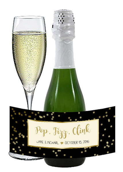 Black + gold dots | mini wine bottle stickers | mini champagne labels