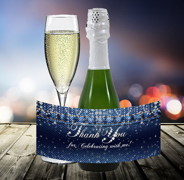(sku692a) Denim + diamonds | mini wine bottle sticker | mini champagne label | party favor - Best Welcome Bags