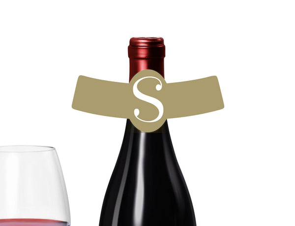 (sku197a) monogram on any color bottle neck ring | names on wine neck label - Best Welcome Bags