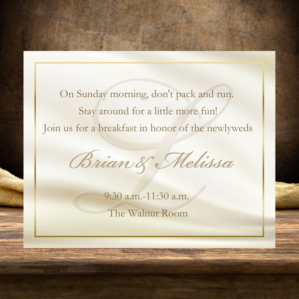(sku233a) Custom Ivory monogram + gold text flat note cards | wedding welcome note - Best Welcome Bags