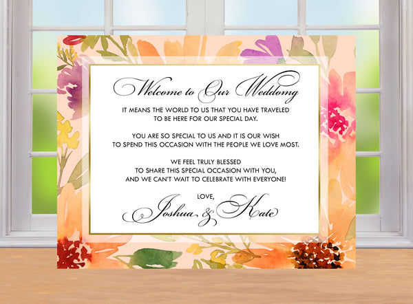 (sku074) Autumn wedding stationery | fall floral welcome letter | invitation | thank-you note - Best Welcome Bags