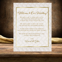 (sku283) Printed note card | vintage lace + gold text | wedding welcome note | invitation - Best Welcome Bags