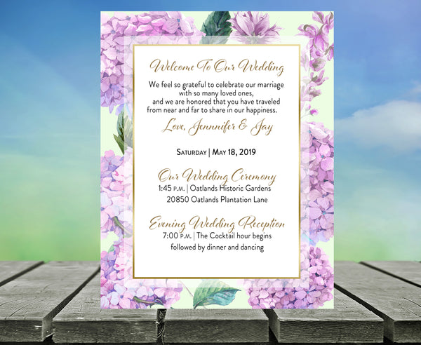 (sku035) Hydrangea wedding stationery | pink or blue floral welcome note | thank you card - Best Welcome Bags