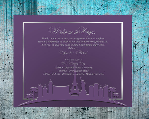 pick color of Las Vegas skyline note thank you card