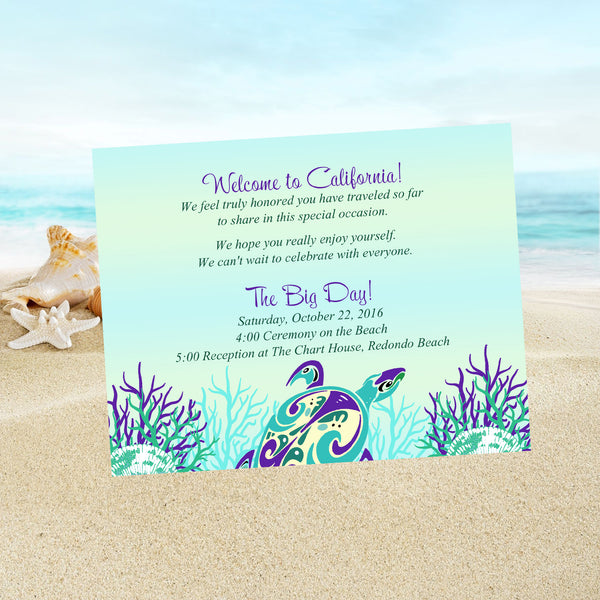 sea turtle beach wedding welcome note thank you or invitation