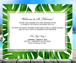 (sku459a) Palm leaf note card | wedding welcome note | thank-you card | party invitation - Best Welcome Bags