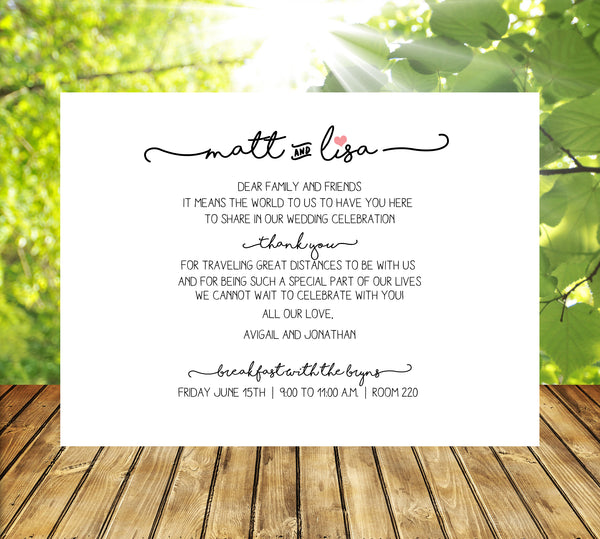 (sku293aa) Trailing text flat note card | wedding welcome note | party invitation - Best Welcome Bags