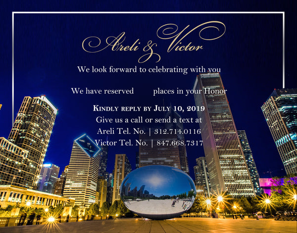 (sku500a) printed Chicago note card | party invitation | welcome note | wedding itinerary - Best Welcome Bags