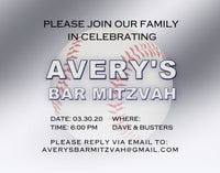 (sku672b) baseball invitation | thank you card | custom stationery | birthday | bar mitzvah - Best Welcome Bags