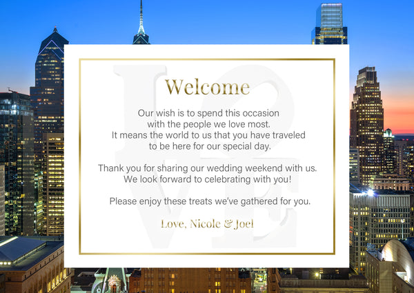 (sku573) Philadelphia wedding | printed note card | party invitation | welcome note - Best Welcome Bags