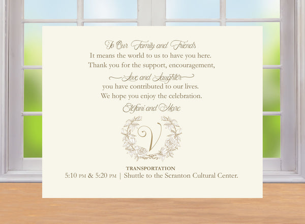 (sku110a) custom monogram in wreath printed welcome letter | invitation | thank-you note - Best Welcome Bags