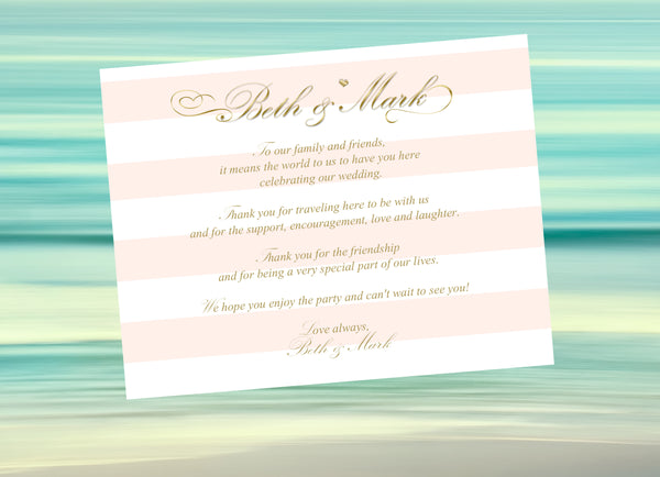 broad pink stripe with gold text welcome letter or thank-you note