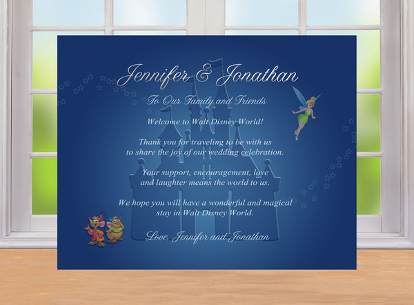 Tinkerbell Cinderella's mice Disney Castle welcome note thank card