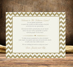 flat welcome or thank-you note in any color chevron 4 guest bag