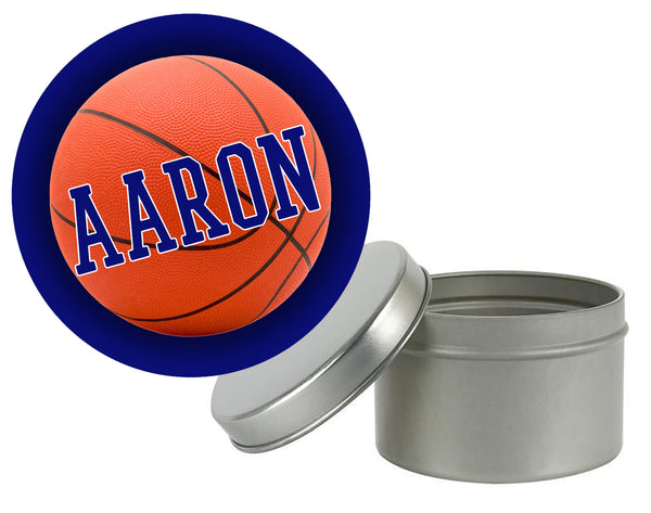 (sku682a) round basketball sticker | basketball goody bag label - Best Welcome Bags