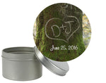 round initials in tree label for mason jar lid tin cookie snack bag