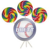 round baseball bar mitzvah birthday snack bag lollipop cookie label party favor