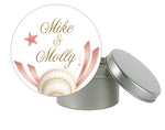 round seashell pink gold label 4 wedding favor tin mason jar