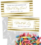 (sku162) Bag Topper | gold stripe label | goody bag | party favor | wedding survival kit - Best Welcome Bags