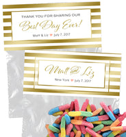 gold ink frame snack bag topper, wedding favor or goody bag